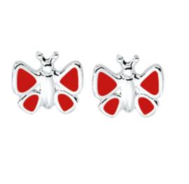 Rode Emaille Driehoek Vlinder Oorknoppen van Zilver
