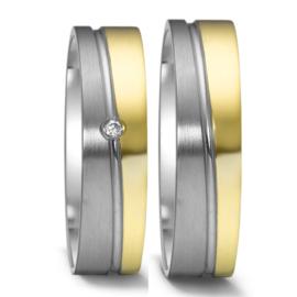 Vlakke 9 Karaat met Zilveren Trouwringen Set met Diamant