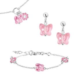 Roze Strass Steen Sieraden Gift Set