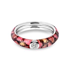 Zilveren Ring met Rode Emaille met Zirkonia van MY iMenso