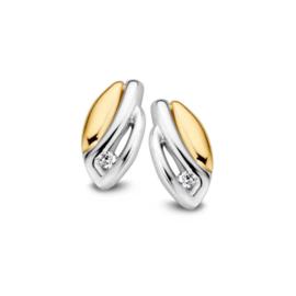 Excellent Jewelry Bicolor Oorstekers met Opengewerkt Zirkonia Vakje