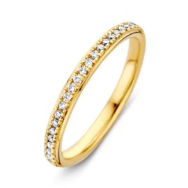 Excellent Jewelry Slanke Vlakke Geelgouden Ring met Diamanten