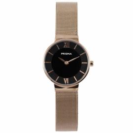 Roségoudkleurig Dames Horloge met Zwarte Wijzerplaat