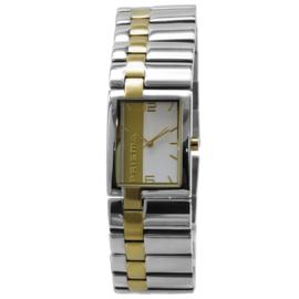 Prisma Edelstalen Dames Horloge met Goudkleurige Streep