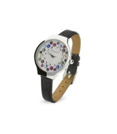 Spark Horloge met Zwart Lederen Horlogeband