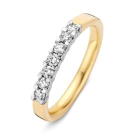 Excellent Jewelry Vlakke Geelgouden Ring met Drie Diamanten