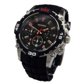 Stijlvol Zilverkleurig Heren Horloge met Zwarte Silicone Horlogeband