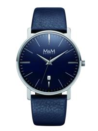 New Classic Heren M&M Horloge met Blauw Lederen Horlogeband