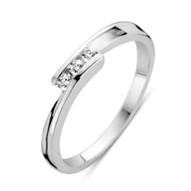 Excellent Jewelry Witgouden Ring met Losse Uiteinden en Zirkonia's