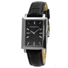 Prisma Rechthoekig Dames Horloge met Zwart Lederen Horlogeband