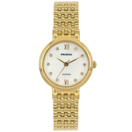 Prisma Goudkleurig Dames Horloge met Parelmoer