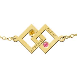 Dubbele Vierkant Gouden Moeder en Dochter Geboortestenen Armband > Names4ever