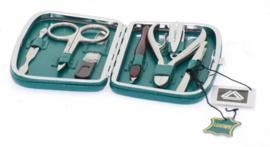 Rechthoekige Groene Metalen Manicure Set van Davidts Chrome