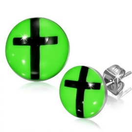 Neon Groene Kruis Oorbellen van edelstaal