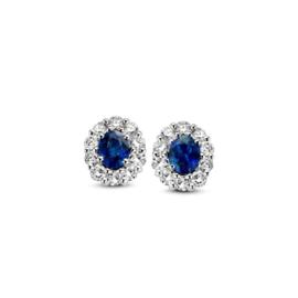 Excellent Jewelry Kleine Witgouden Oorstekers met Briljanten en Saffier