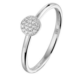Slanke Witgouden Ring met Kleurloze Diamanten