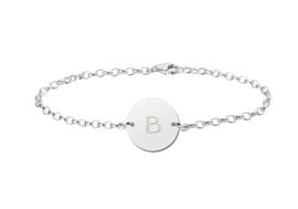 Zilveren Names4ever Armband met Ronde Letterhanger