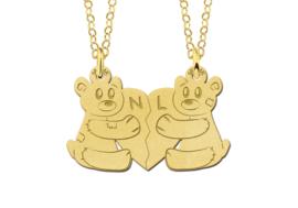 Names4ever Gouden Teddybeer Breekhanger met Initialen van Names4ever