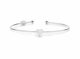 Super Stylish Zilveren Bangle Armband met Hartje