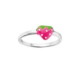 Slanke Zilveren Ring voor Kinderen met Roze Aardbei