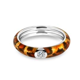 Zilveren Ring met Oranje Emaille met Zirkonia van MY iMenso