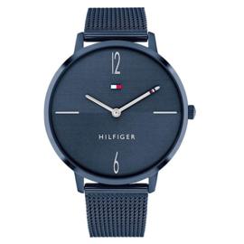 Tommy Hilfiger Donkerblauw Dames Horloge met Zilverkleurige Wijzers