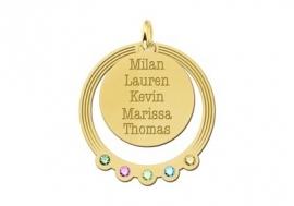 Gouden Cirkel hanger met geboortestenen en namen Names4ever