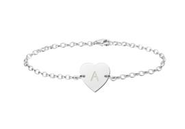 Zilveren Armband met Hartvormige Letterhanger > Names4ever