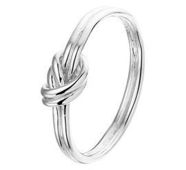 Glanzende Knoop Ring van Gerhodineerd Zilver