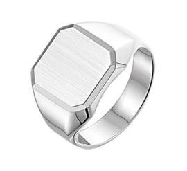Graveer Ring met Gediamanteerd Zilveren Plaatje voor Jongens