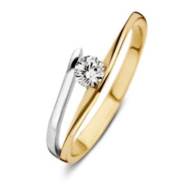 Excellent Jewelry Slanke Gespleten Bicolor Ring met Zirkonia