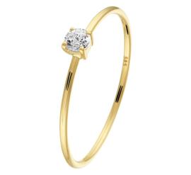 Slanke Geelgouden Ring met Opvallende Zirkonia