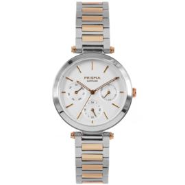 Prisma Zilver- en Roségoudkleurig Dames Horloge met Moderne Schakelband