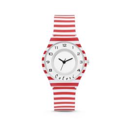 Rood Wit Gestreept Horloge van Colori Junior