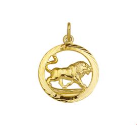 Gouden Hanger Sterrenbeeld Leeuw Gediamanteerd