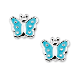 Zilveren Vlinder Oorknoppen met Blauwe Emaille