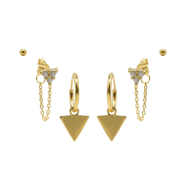 Karma Jewelry – Zesdelige Triple Triangle Earparty Set - Gold