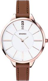 Sekonda Roségoudkleurig Dames Horloge met Slanke Bruine Band