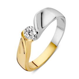Excellent Jewelry Bicolor Ring met Losse Uiteinden en Zirkonia