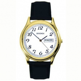 Sekonda Horloge / Zwart leren band SEK.3925