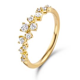 Excellent Jewelry Gouden Ring met Diamanten Rij Kopstuk