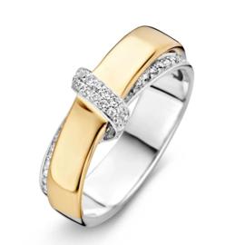 Excellent Jewelry Fantasie Bicolor Ring met Diamant Rijen