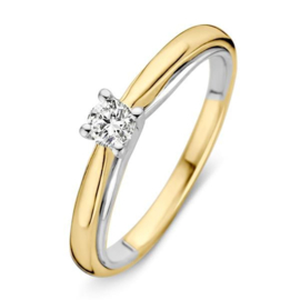 Excellent Jewelry Bolstaande Bicolor Ring met 0,19 crt. Briljant