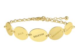 Names4ever Gouden Armband met Vijf Ovaaltjes met Naam GNA65