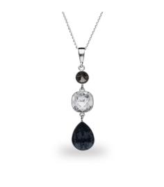 Spark Classico Ketting met Zwarte en Witte Glaskristallen