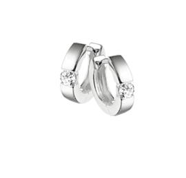 Basic Zilveren Klapcreolen met Kleurloze Zirkonia