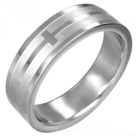 Kruis graveer ring / 316 L stainless steel ring SKU3237