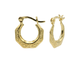 Goudkleurige Oorringen met Structuur | Karma Jewelry