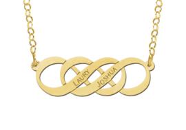 Names4ever Dubbele Infinity Naamketting van Goud