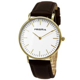 Prisma Goudkleurig Heren Horloge met Bruine Lederen Horlogeband